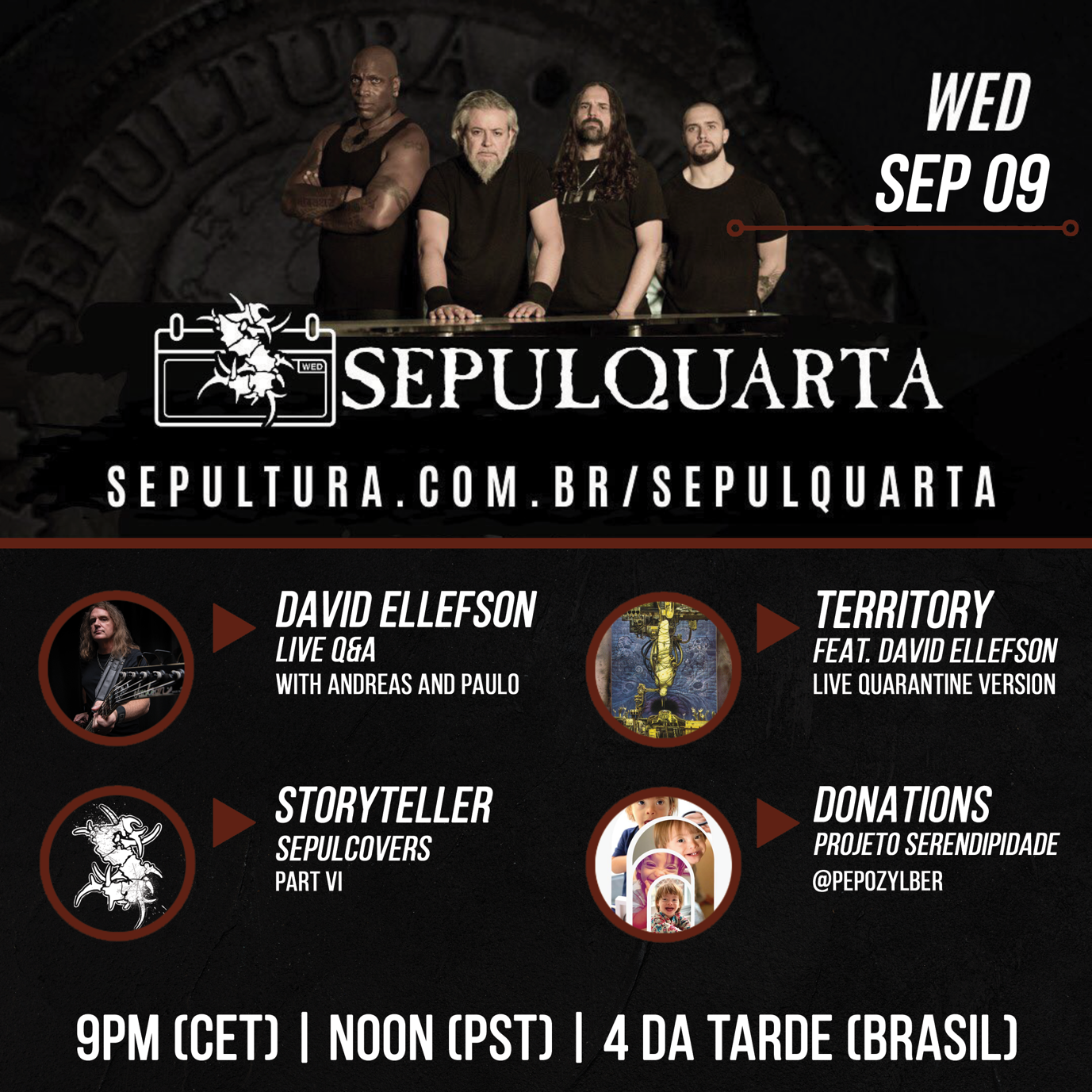 SEPULTURA Welcomes Dave Ellefson To Their SepulQuarta Sessions
